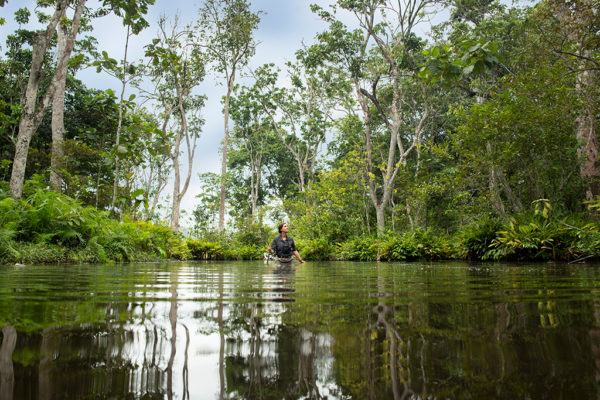 congo-conservation-company-lango-camp-wading-though-water